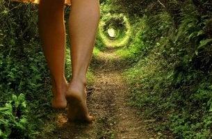 Woman walking in wood