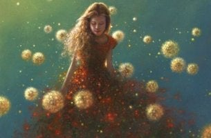 woman with dandilions