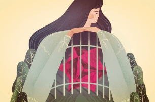 woman with cage