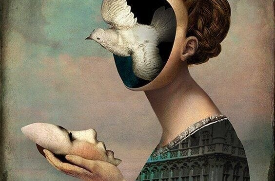 Woman without a face with a bird flying out of her head demonstrating unconscious
