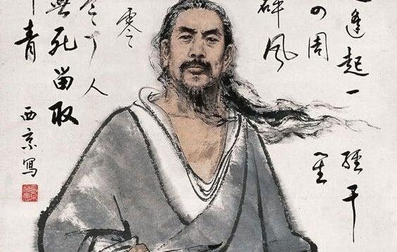 man and Chinese writing