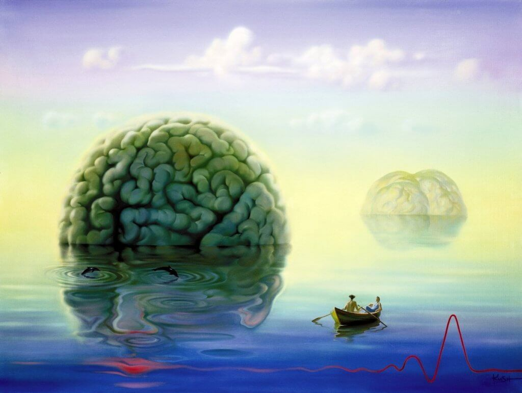 A brain floating in the sea.