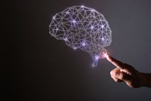 A floating human brain with pink lights.