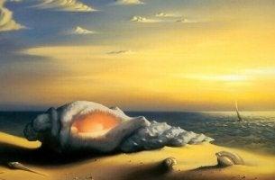 A seashell on the shore.