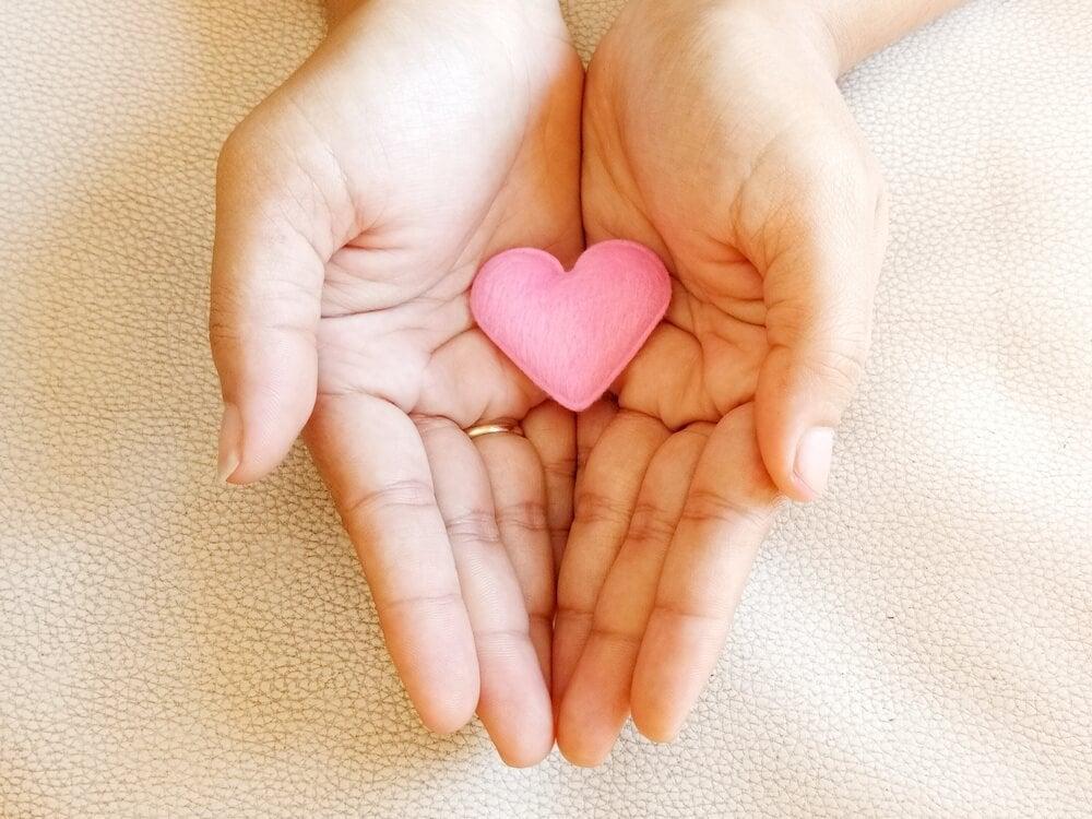 A small pink felt heart.