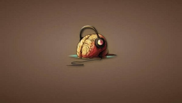 Brain with earphones