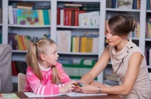 Child learning with a tutor
