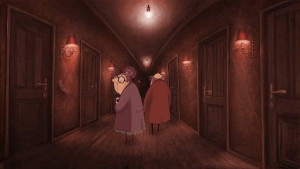 in dark corridor