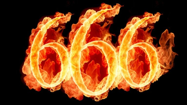 A flaming 666, the number of the Beast.