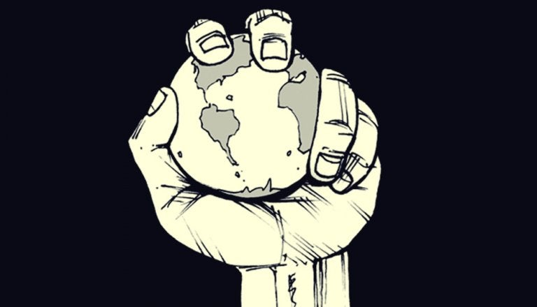 Holding the planet in your hand.