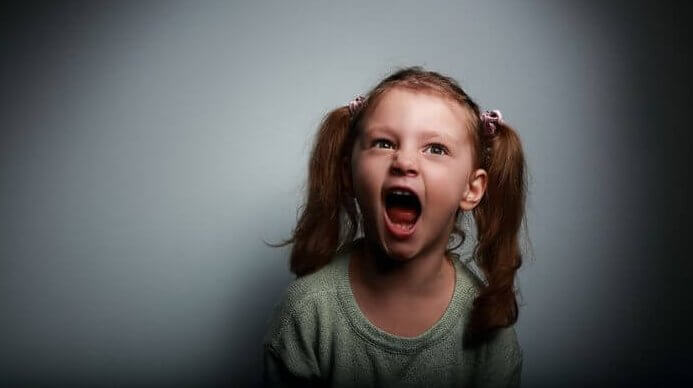 Little girl screaming.