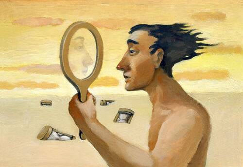 Man looking into a mirror in a desert.