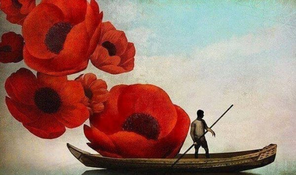 Man sailing among flowers