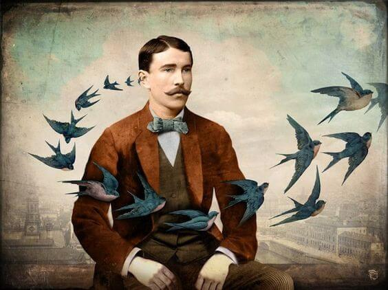 A man with birds circling around him.