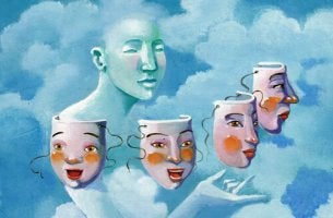 One person in the clouds choosing between many masks.