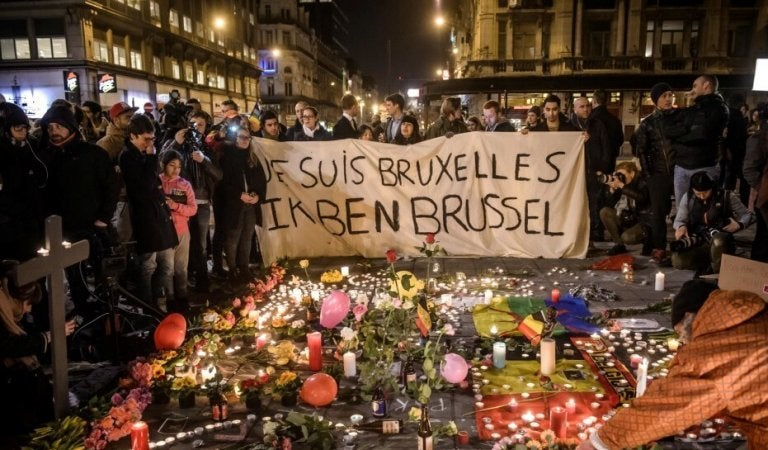 Sign about the terrorism attack in Brussels.