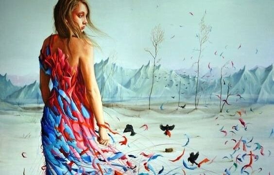 A dress made of colors with birds.