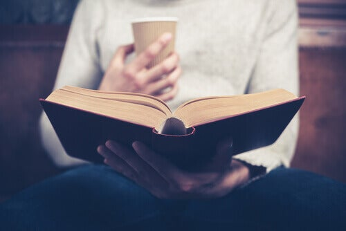Reading with coffee.