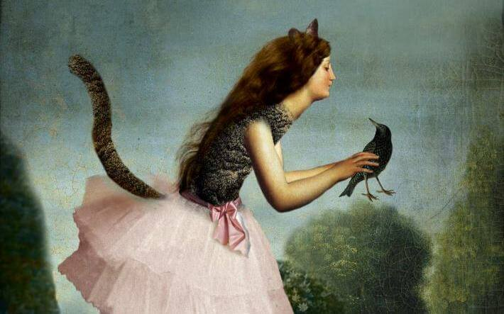 A woman with a tail holding a bird: jealousy