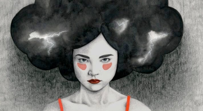 An angry woman has a thunder cloud as hair.