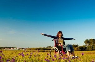 A happy disabled woman.