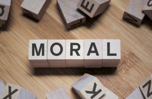 Block letters spelling out moral.