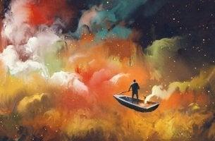boat in clouds