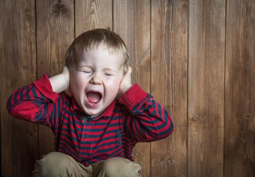 A child screaming and covering his ears.
