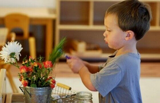 child playing with a plant