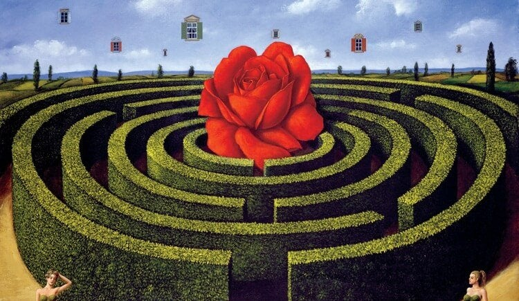 A giant rose in the middle of a maze.