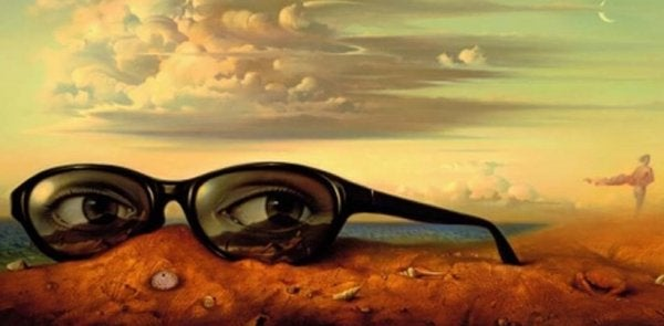 Glasses on mountain