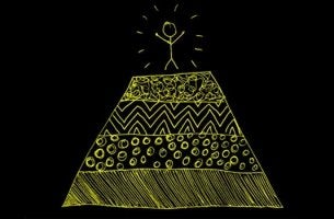 A happy figure is standing on top of a pyramid.