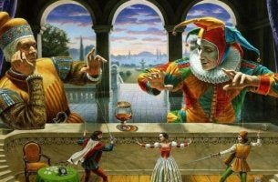 Jester and puppets