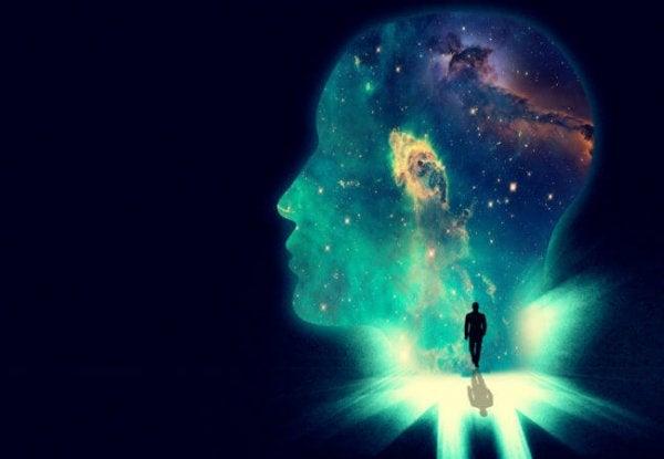 Glowing man's head