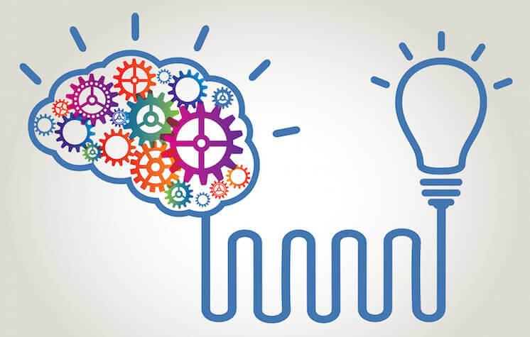Mechanical gears in a human brain lighting up a light-bulb.