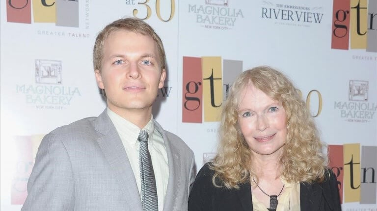 Mia Farrow and her son.