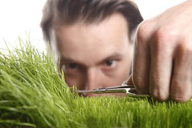 A man with obsessive personality disorder trimming grass.