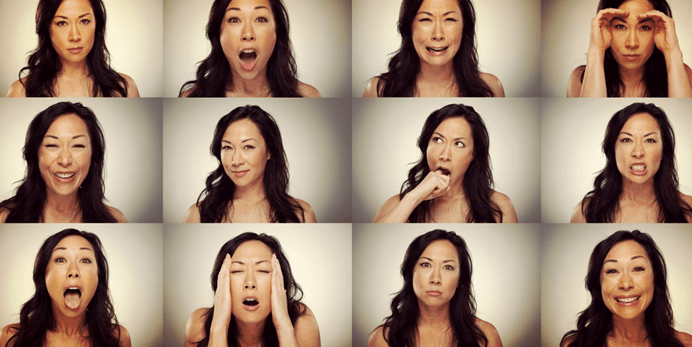 One woman showing many different expressions.