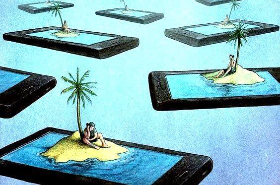 Many people on desert islands inside their phones.