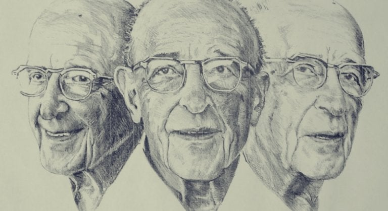 three drawn faces of Carl Rogers.