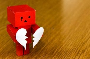 Toy robot with a broken heart.