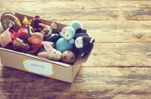 Toys inside a box of memories.
