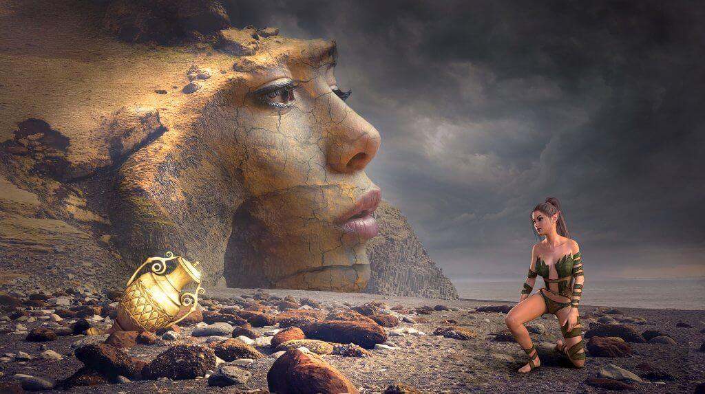 woman's face representing the hero's journey