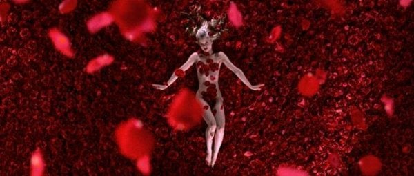 body with rose petals