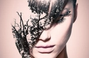 Woman with tree superimposed on face