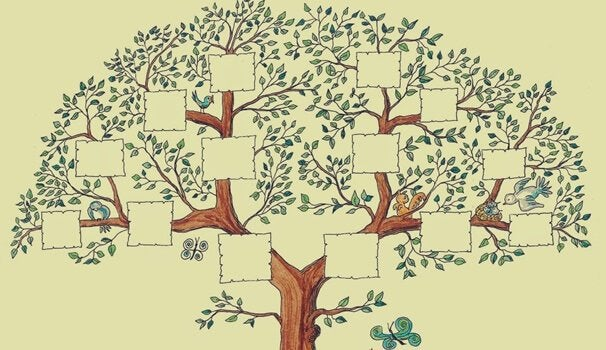 A blank drawing of a family tree.