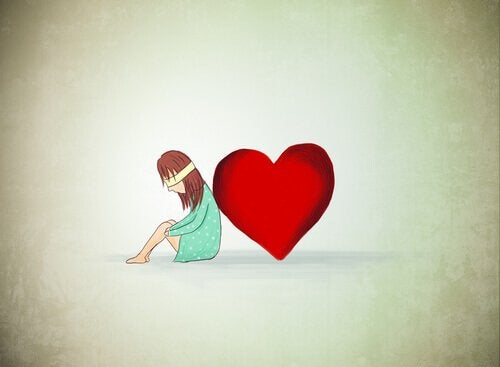 A blindfolded girl leaning on a heart.