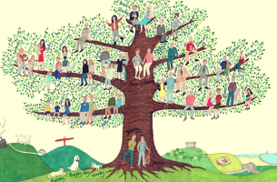 A family tree made of people.