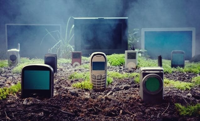 A graveyard of old cellphones.