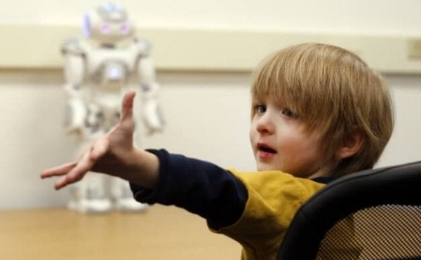 Children with autism and robots.